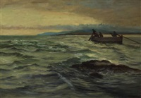 hauling nets at dusk by william henry bartlett