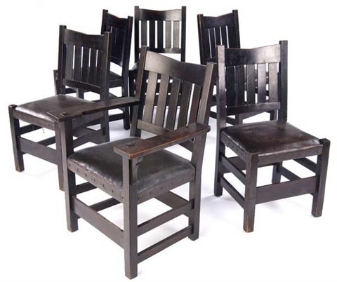 V Back Dining Chairs No.354 (set Of 6) By Gustav Stickley