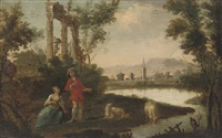 a river landscape with a herdsman and shepherdess conversing by a classical ruin by anglo-dutch school (18)