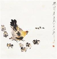 母子平安图 立轴 设色纸本 by tang yun