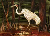 untitled (brolga in pond) by albert lee tucker