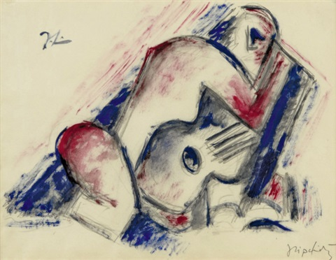 study for woman and guitar by jacques lipchitz