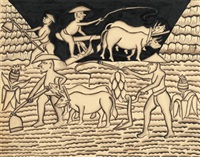 farmers at work with paddy, ploughing with oxen and other tools by i rauh