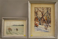 harbor scene (+ winter landscape; 2 works) by komárnoky gyula
