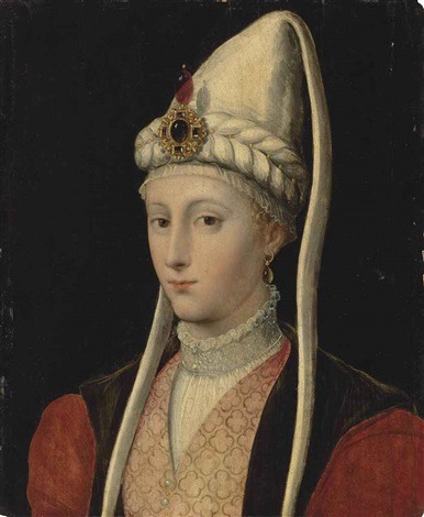 portrait of a woman possibly haseki hürrem sultan called roxelana 1506 1558 bust length in ottoman costume with a jewelled headdress by titian tiziano vecelli