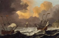 segelschiffe auf stürmischer see by pieter coopse