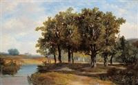 landschaft mit eichenwald am altwasser by hermanus jan hendrik rijkelijkhuysen