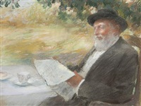 gentleman reading by willard leroy metcalf