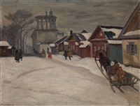 a street in winter by arnold borisovich lakhovsky