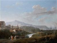 vue de la campagne italienne animée de lavandières by jules cesar denis van loo