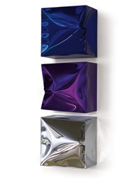 totem no. 4: dark blue, violet, silver (galvanivally chromed) by lori hersberger