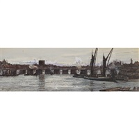 busy city canal (the old putney bridge) by kate macaulay