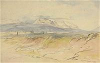 an extensive view of jannina (ioannina), greece, mountains beyond by edward lear