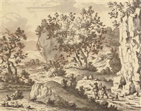 a rocky landscape with travellers on a path by josua de grave