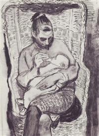 the artist's wife and child by alberto morrocco