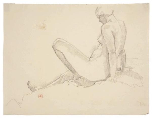 etude de femme nue vue de dos study by théo van rysselberghe