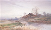 a shepherd and flock crossing a bridge over the avon, hants by noel smith