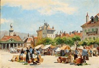 market day in vevey in switzerland by august fischer