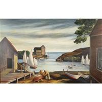 regionalist new england wharf scene by floyd hopper