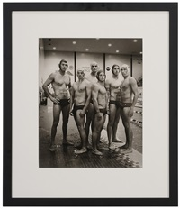 waterpolo players usafa #3 (athelete image standing beside pool) by anderson & low