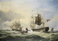 an english fourth rate hove to for a pilot in the channel by george philip reinagle
