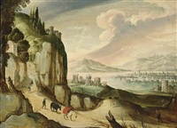 a panoramic mountainous landscape with a traveller and his donkeys on a path, a town near a lake beyond by tobias verhaecht