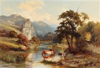 english landscape with cattle by a stream by edward henry holder