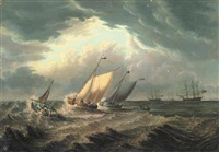 dutch fishing boats off the coast with other shipping in the distance by thomas a. binks