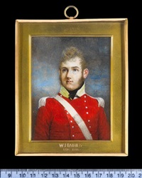 an officer, wearing scarlet coatee with silver buttons and epaulettes, gold collar and black stock, a white belt with belt-plate across his chest by william haines