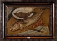 nature morte aux poissons et aux crevettes by maurice dupuis