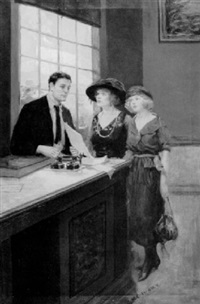 two women and clerk in western office: anxiety by percy v.e. ivory