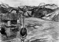 segelboot mit bootshütte am grundlsee by karl markus