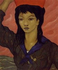 jeune asiatique porteuse d'eau by xavier de langlais