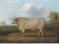 a longhorned bull in a landscape by william henry davis