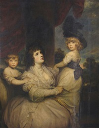 portrait of jane, countess of harrington with her sons lord petersham and the hon. lincoln stanhope by joshua reynolds