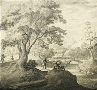 river landscape with figures resting along a path by adriaen van salm
