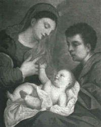 madonna and child with a male saint by ludovico (il padovanino) leoni