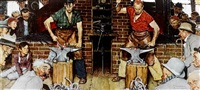 the horseshoe forging contest by norman rockwell