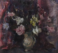 roses, snap dragons and pottery jug by lena alexander