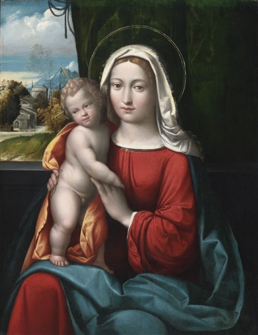 madonna and child before a curtain a mountainous landscape beyond by benvenuto tisi da garofalo