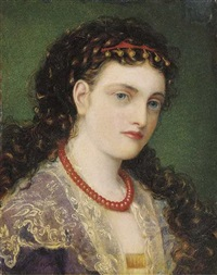 portrait of a young woman wearing a coral bead necklace by emma sandys