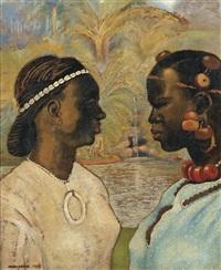 deux femmes dans la palmeraie by georges manzana-pissarro