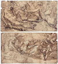 a battle scene (+ three figures, after the ceiling decoration of the salone dei giganti in palazzo doria, verso; on 2 sheets) by giulio benso