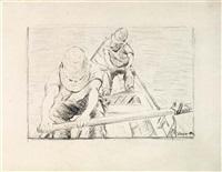 etude pour les canotiers ramant sur l'yerres by gustave caillebotte