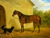 carriage horse and a spaniel before stables by j. loder