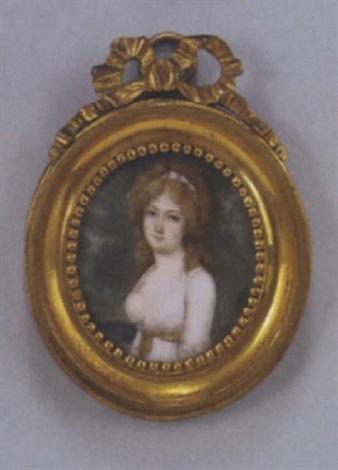 portrait d'une jeune femme dans un parc présentée de trois-quart, portant une robe de soie blanche à large décolleté découvrant un sein, et coiffée à la conseilleur by louis françois aubry