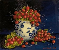 radishes in a chinese vase (+ bouquet of flowers in chinese vase, irgr; 2 works) by sondra lipton