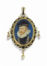 a nobleman probably jacques de savoie, duc de nemours and comte de genève (1531-1585), in black doublet and white ruff by françois clouet