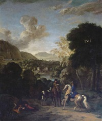 a hawking party in a wooded landscape with a villa by a lake beyond by dirk maes