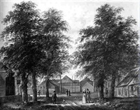 a village street with elegant townsfolk promenading by fredericus theodorus renard